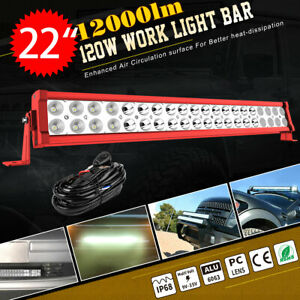 22inch 120w Led Light Bar Flood Spot Combo For Offroad Suv Atv 4wd Wire Kit