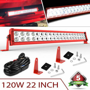 22inch 120w Led Light Bar Off Road Spot Flood Combo Wiring For Jeep Truck Suv