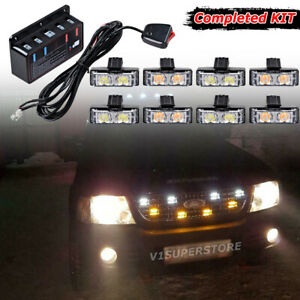 16led Emergency Warning Caution Strobe Grill Bumper Insert Light White Amber Kit