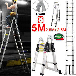 5m Aluminum Telescopic Collapsible Loft Folding Hatch Attic Stairs Garage Ladder