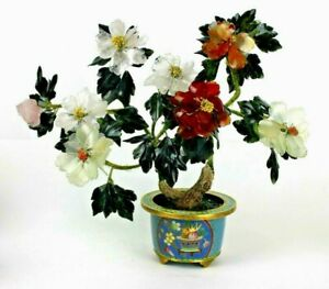 Antique Vintage Chinese Jade Tree Cloisonne Pot Rose Quartz Carnelian Agate Jade