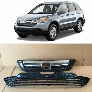 Fit For Honda Crv 2007 2008 2009 Front Upper Grille Lower Bumper Grill Chrome
