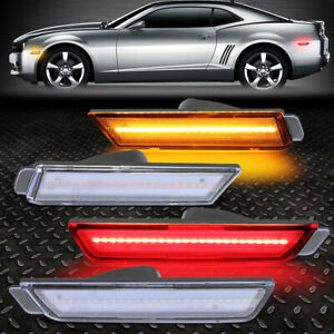 For 10 15 Chevy Camaro Front Rear Led Bumper Side Marker Light Lamps 4pcs Clear