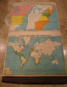 1940 S Canvas School Pull Down Map 13 Colonies Voyages Discoveries Claims Cram