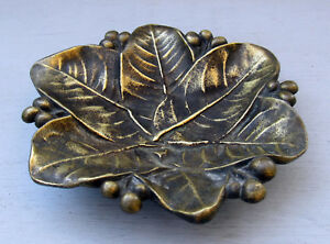 Antique American Foundry Cast Bronze Leaves Berries Trinket Dish