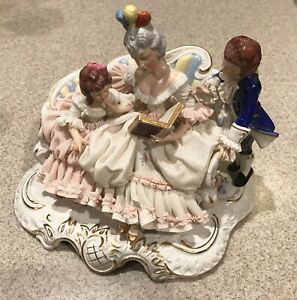 Vintage Large Dresden Porcelain Lace Figurine Mother Reading To Children