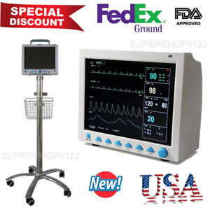 Us Seller 6 Parameters Cms8000 Icu Ccu Patient Monitor With Trolley Cart Stand