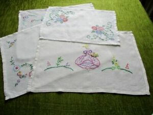 Vintage Tray Cloths Hand Embroidered Col X 4