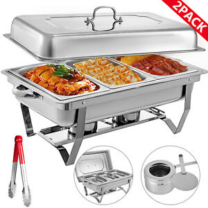 2pack Chafer Chafing Dish 8 Qt With 1 3 Inserts Full Size Hotel Chafer Pan