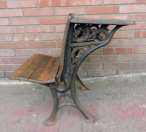Antique Cast Iron Wood Child School Desk The Crown A C Elliott Bellefontaine Oh