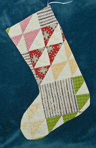 Gorgeous Antique Vintage Cutter Quilt Christmas Stocking 17 20