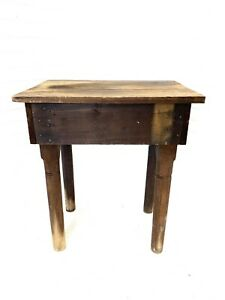 Rustic Antique Wood Side Table Primitive Vtg Nightstand Flower Display Stand Old