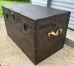 Large Antique Steamer Trunk Vtg Storage Chest Reliable Trunk Bag Co Pittsburgh