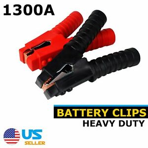 Pair 1300a Car Battery Charger Cable Jump Starter Clips Clamps Jumper Heavy Duty