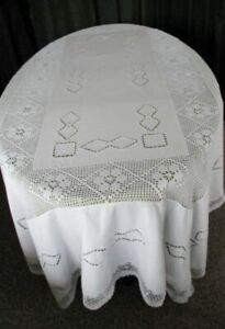 Large Tablecloth Hand Embroidered Hand Crochet 58 X80