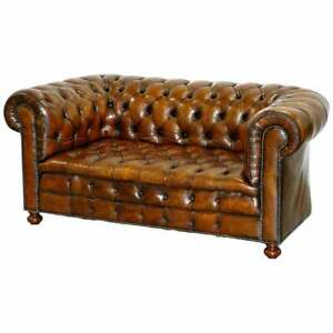 Restored 1900 S Chesterfield Buttoned Hand Dyed Brown Leather Sofa Horse Hair