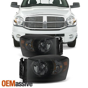 Fit 2006 2008 Dodge Ram 1500 2006 2009 Ram 2500 3500 Black Smoked Headlights