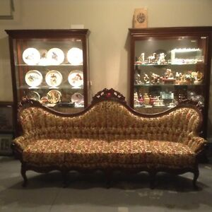 Antique Victorian Camel Back Floral Style Sofa Just Lowered To Sell