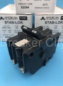 Federal Pacific 60 Amp 2 Pole Type Nb Circuit Breaker Bolt On Fpe 120 240vac