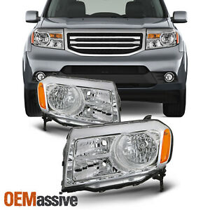 For 2012 2013 2014 2015 Honda Pilot Halogen Chrome Headlights Pair Left right