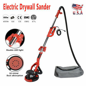 Adjustable 800w Electric Drywall Sander With Vacuum And Led Light 6 Sand Pads