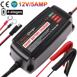 12v 5a Smart Battery Charger Maintainer For Car Motorbike Deep Cycle Agm Sla