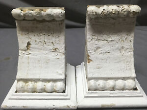 Small Pair Beaded Antique Wood Corbels Shabby Cottage Chic Vintage 354 19l