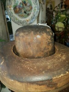 Antique Millinery Wood 2 Pc Hat Block Mold Brim Chicago Illinois 7 1 4 Jack