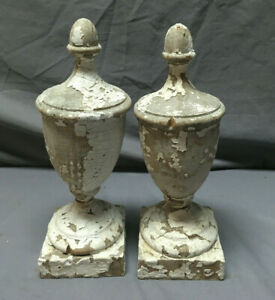Pair Antique Wood Finials Shabby Vintage Old Chic 365 19l
