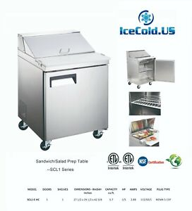 Counter Work Top Commercial Refrigeration Sandwich Salad Prep Table 1 Door