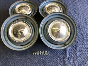 55 Chevy Original Paint Riveted Steel Wheels Set Of 4 Oem Gm Nubs 15x5 W Caps