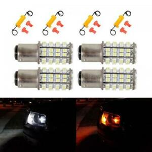 4x 1157a 1034 2057 Amber White Drl Front Turn Signal Lamp Dual Chip Led Resistor
