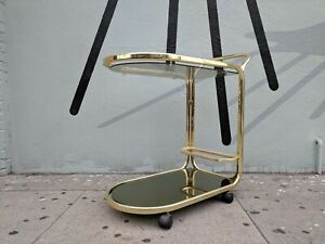 Vintage 1970 S Rolling Brass Bar Cart With Smoked Glass