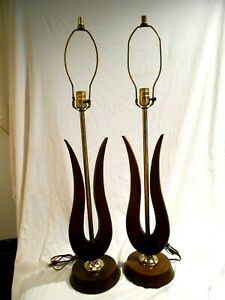 Match Pair Danish Mid Modern Electric Table Lamps