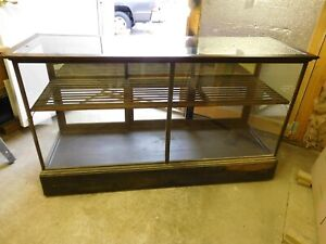 Antique Advertising Tobacco Floor Country Feed Store Showcase Wavy Old Glass