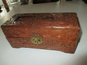 Vintage Intricately Hand Carved Chinese Mahogany Hinge Latched Trinket Box Chest