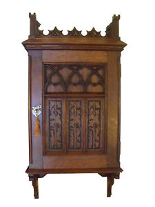 Late 1800s Gothic Revival Hand Carved Oak Wall Cabinet Germany