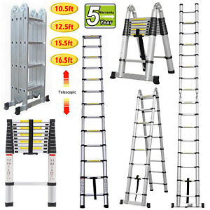 3 2m 5m Portable Heavy Duty Multi purpose Aluminium Telescopic Ladder Extendable