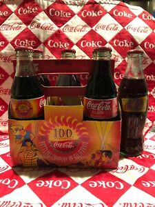 100th Anniversary Limited Edition Coca Cola Bottles 8 Oz In Holder