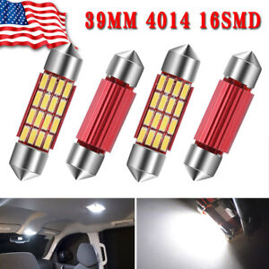 4x Pure White 39mm Festoon 16smd Led Interior Map Dome License Lights Bulbs 3423