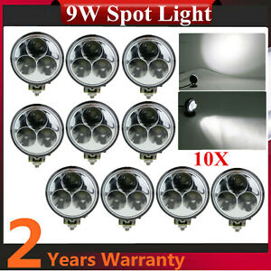 10x 9w Round Led Work Light Spot Beam Truck Chevrolet 4x4 Utility Pickup Truck