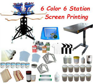 6 Color Silk Screen Printing Stable Press Kit Micro registration Dryer Included