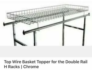 Wire Basket Topper For Double Rail Clothing Rack 52 l X 22 W