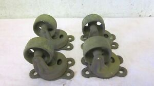 4 Antique Matching Cast Iron Industrial Swivel Caster Cart Wheels