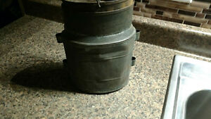 Vintage Metal Metal Can With Sift Lid Primitive Oval Container Antique
