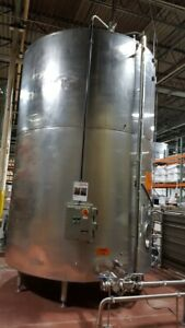 6 500 Gallon Sanitary Stainless Steel Jacketed Storage Tank Vertical