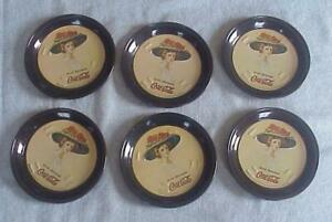 6 Tin Coca Cola  Coasters-1974-Unused-B