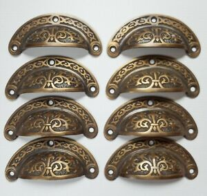 8pc Antique Vtg Style Victorian Brass Apothecary Bin Pulls Handles 3 Cntr A5