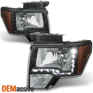 Fit 2009 2010 2011 2012 2013 2014 Ford F150 Black Drl Led Headlights Replacement