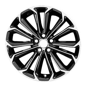 New 17x7 Alloy Wheel 14 Spokes Diamond Pattern Machined Face With Black